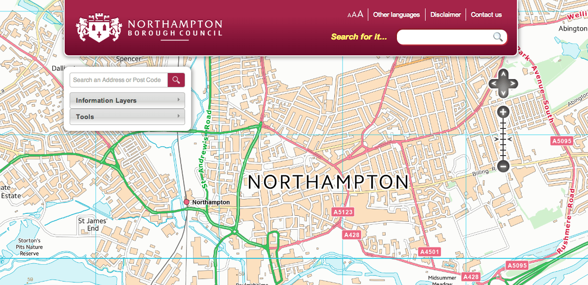 Screenshot of the mapping application